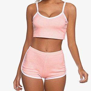 Large pink crop top pajama set